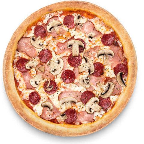 Піца грибна з томатами