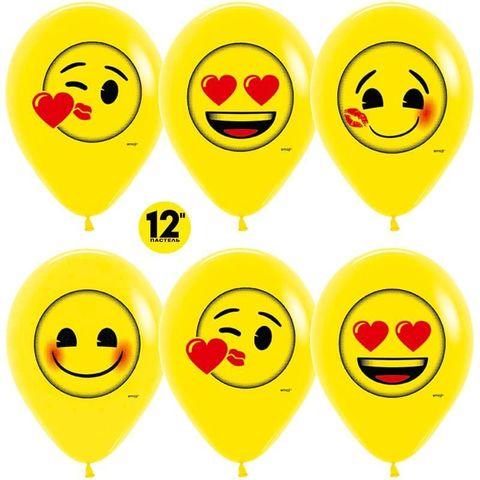 Шар (12''/30 см) Смайлы, Emoji (Любовь), Желтый (020), пастель, 2 ст.
