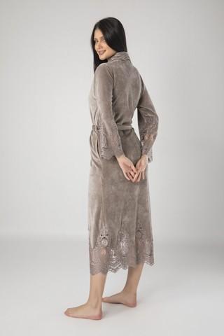 Халат женский велюровый с кружевом Kleopatra 0383 бежевый NUSA Турция