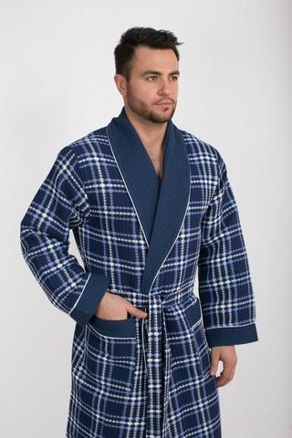 Вафельный  мужской халат Gentelmen Style синий