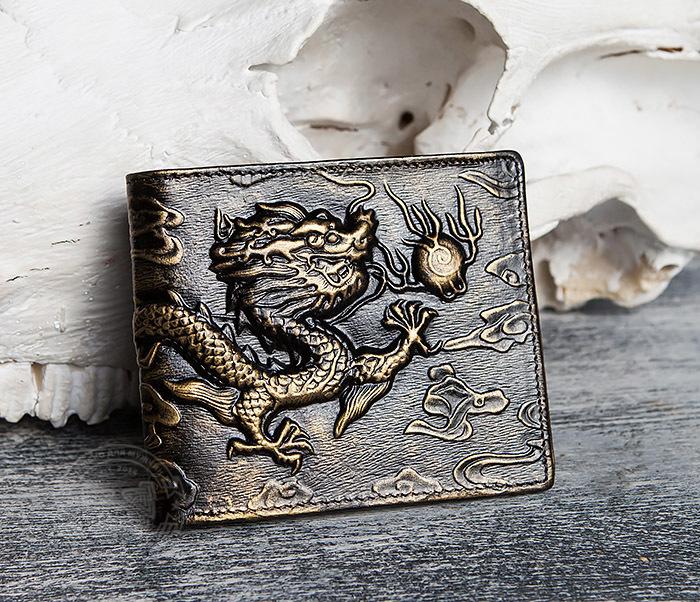 WL293-2 Крутой мужской кошелек золотистого цвета с драконом