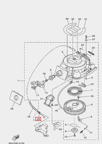 Тросик стартера для лодочного мотора F20 Sea-PRO (10-23)