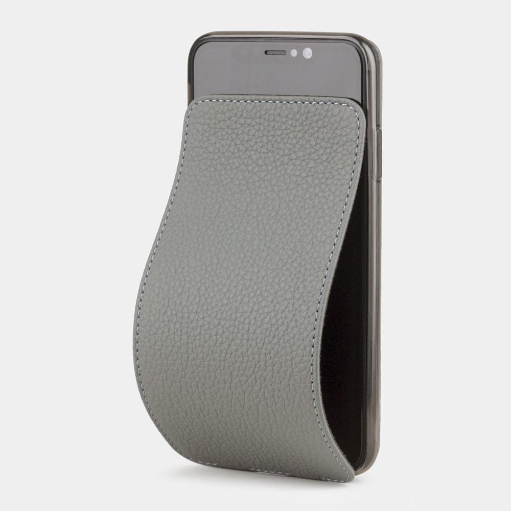 Чехол для iPhone XS Max из натуральной кожи теленка, стального цвета