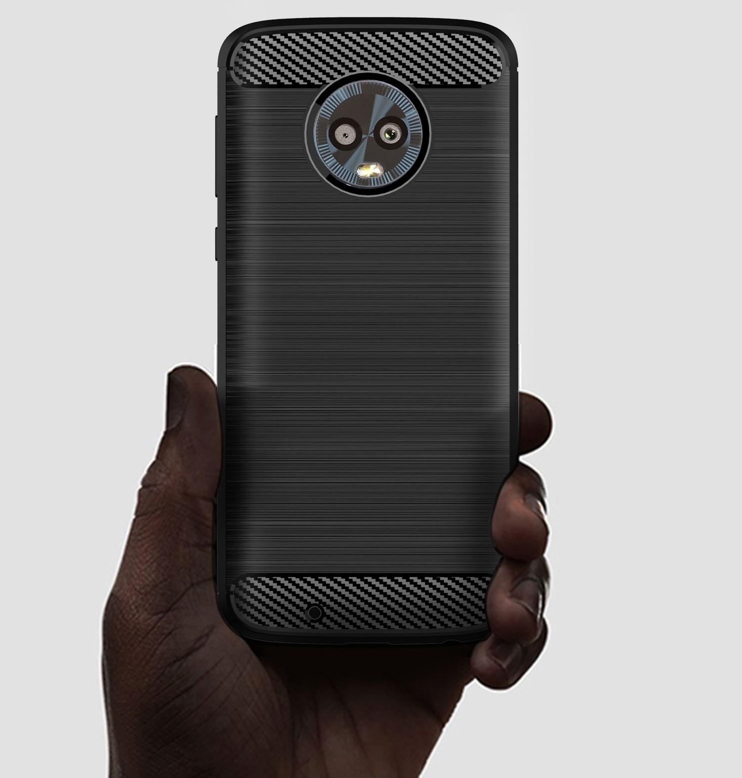 Чехол для Motorola Moto G6 цвет Black (черный), серия Carbon от Caseport