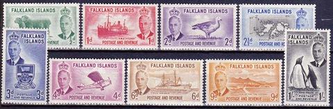 Falkland Islands 1952 №102-11 **MNH не полная серия