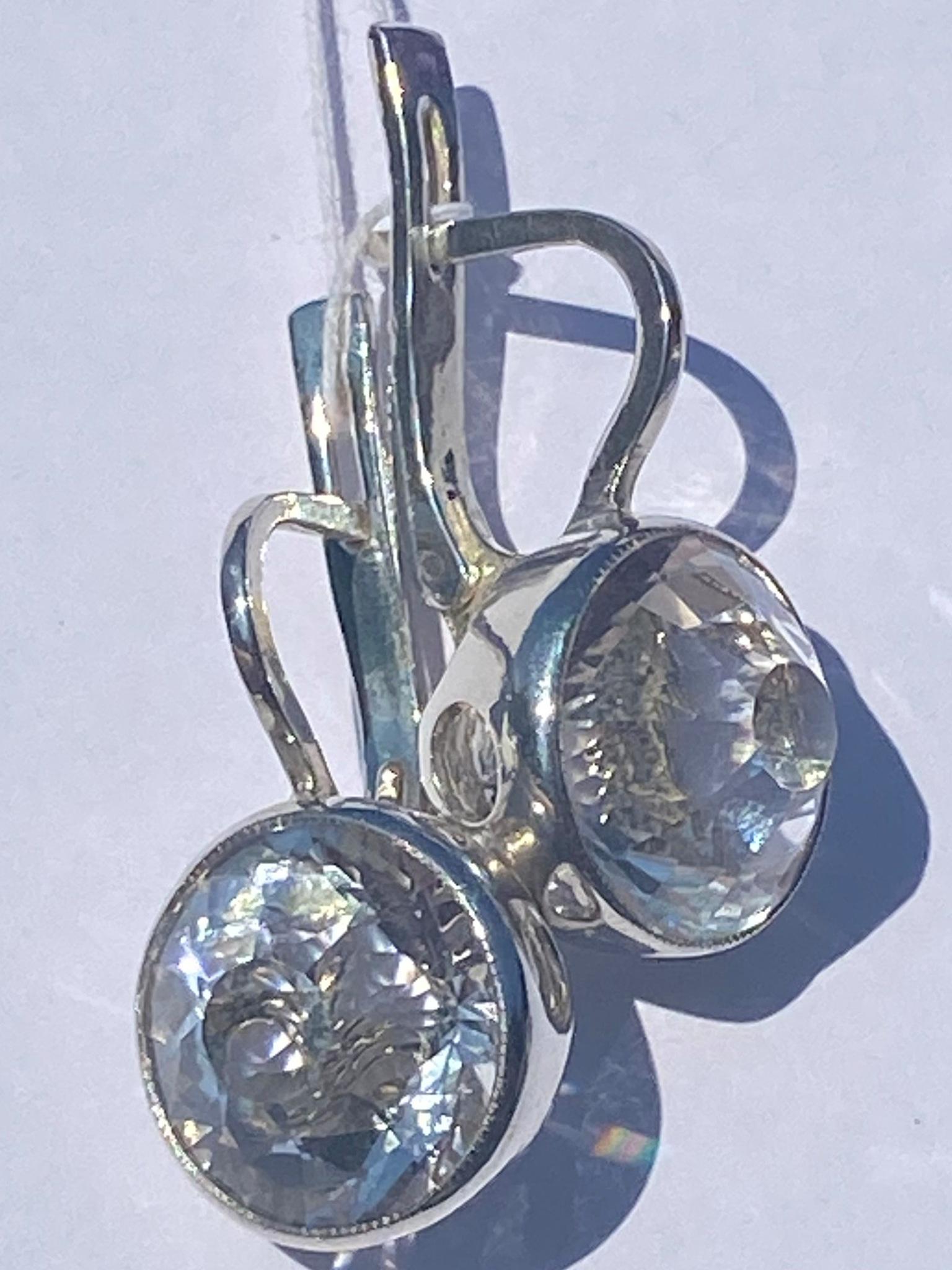 Горный хрусталь 535  (серьги из серебра)