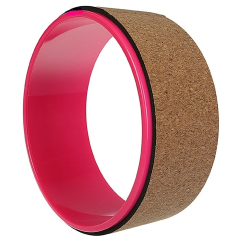 Йога-колесо Лотос пробковое, 33 см, розовое