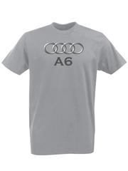 Футболка с принтом Ауди A6 (Audi A6) серая 003