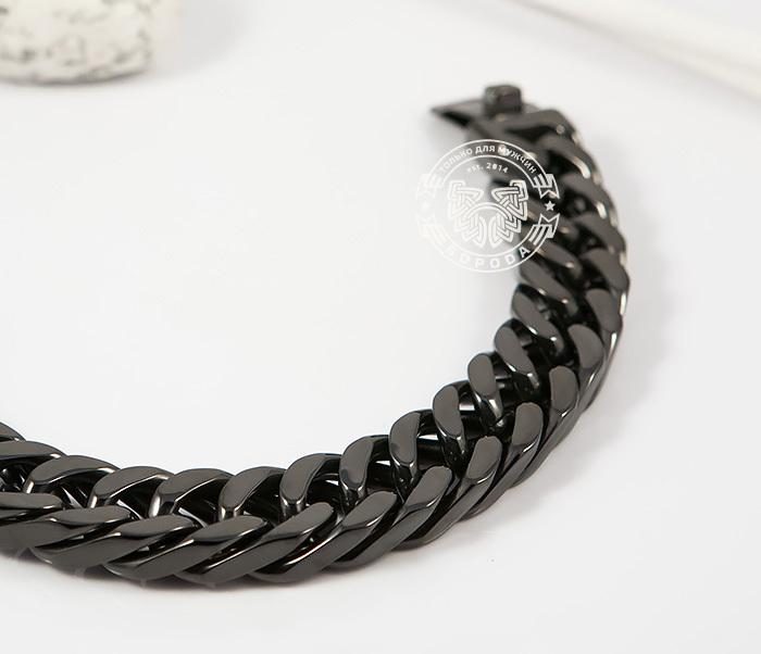 BM280 Лаконичный браслет черного цвета из ювелирной стали (22 см) фото 02
