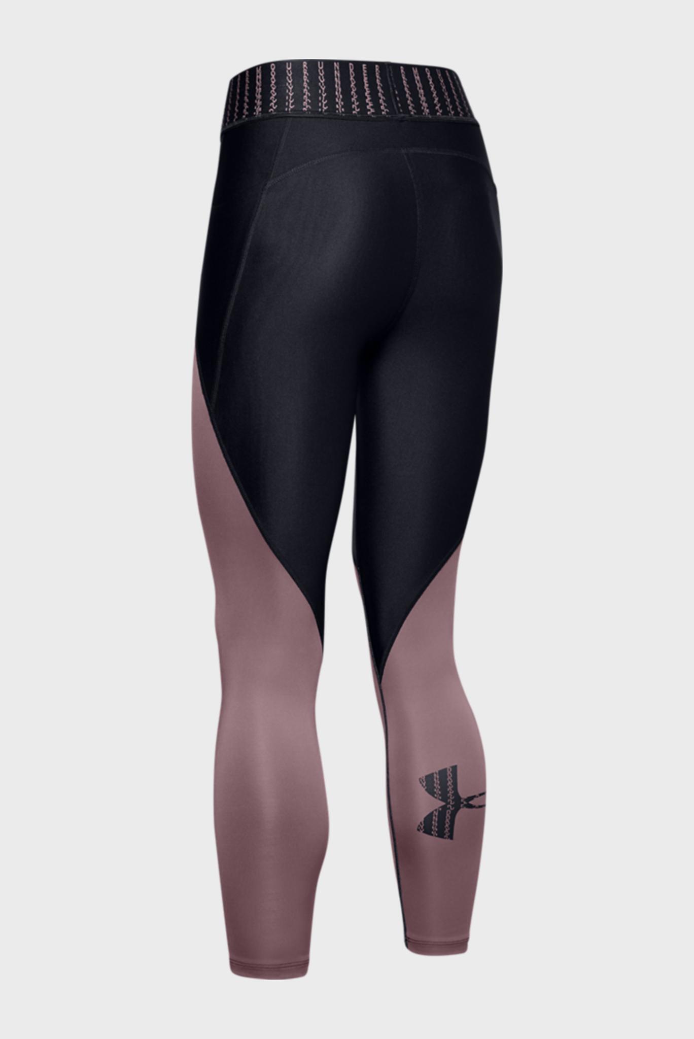 Женские черные спортивные тайтсы UA HG Armour Color Block Graphic Ankle Crop Under Armour