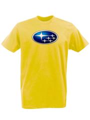 Футболка с принтом Субару (Subaru) желтая 002