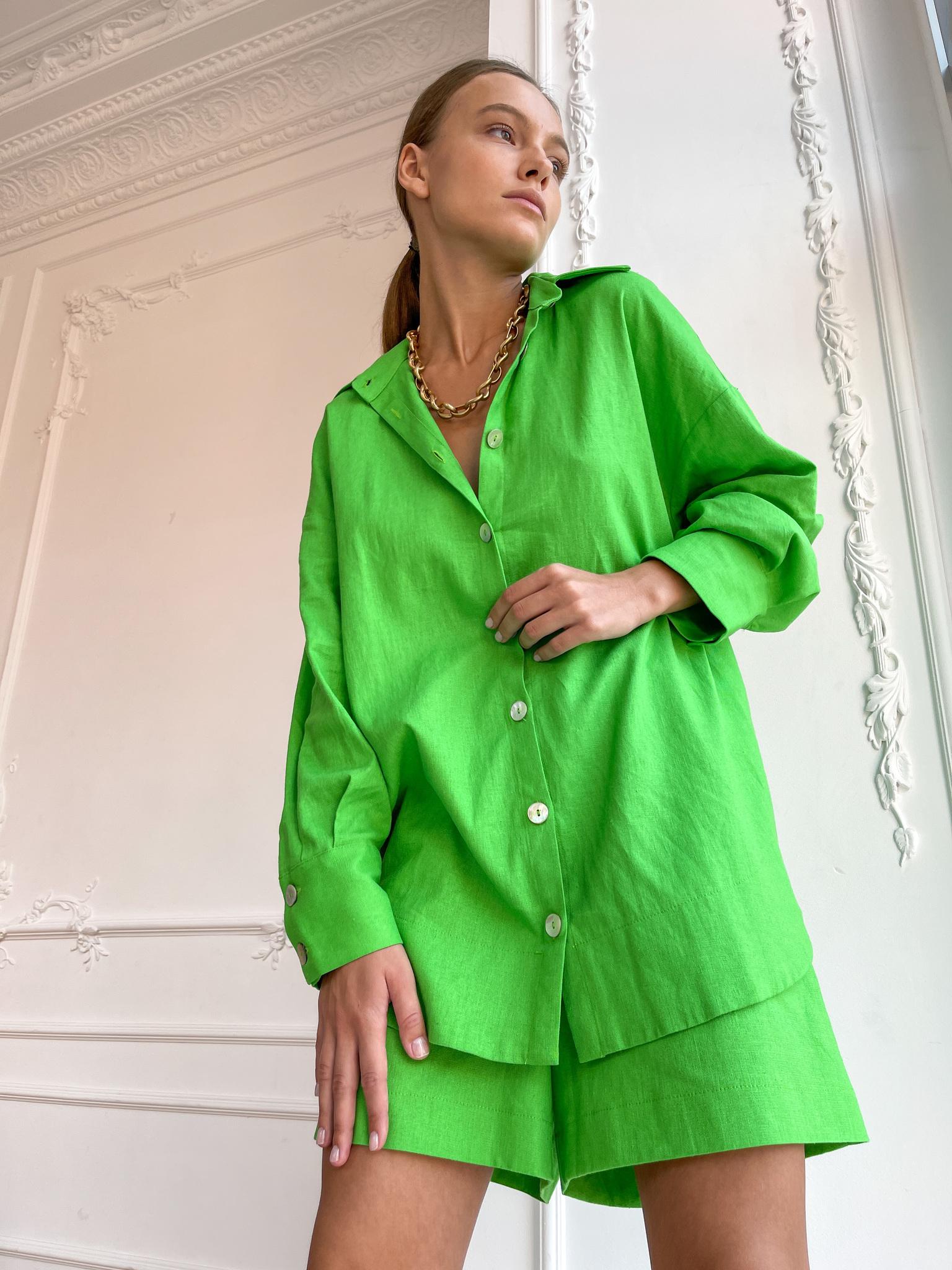 Рубашка объемная изо льна (ярко-зеленый)