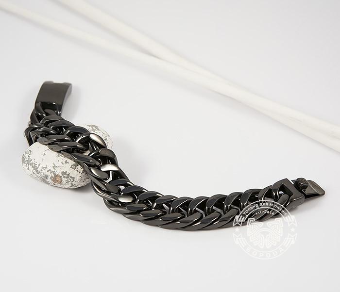 BM280 Лаконичный браслет черного цвета из ювелирной стали (22 см) фото 03