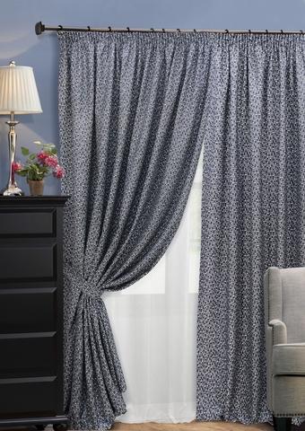 Комплект штор из двухстороннего жаккарда с тюлем Домино насыщенный серый