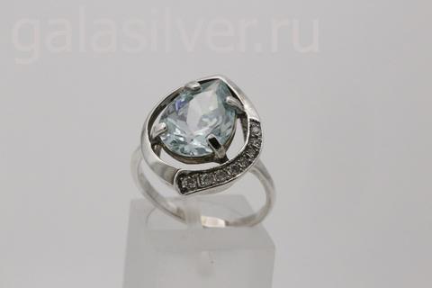 Кольцо с аквамарином из серебра 925