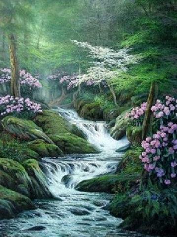 Картина раскраска по номерам 50x65 Водопад в густом лесу
