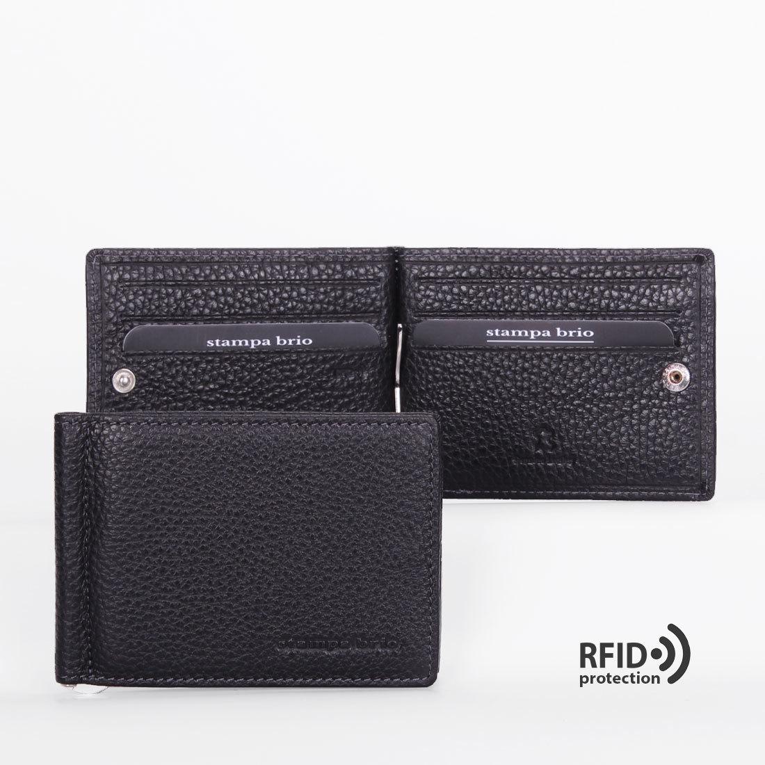 722 R - Зажим для купюр с монетником на молнии и RFID защитой