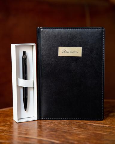 Набор с гравировкой: Ежедневник недатированный и шариковая ручка Parker IM Achromatic Matte Black