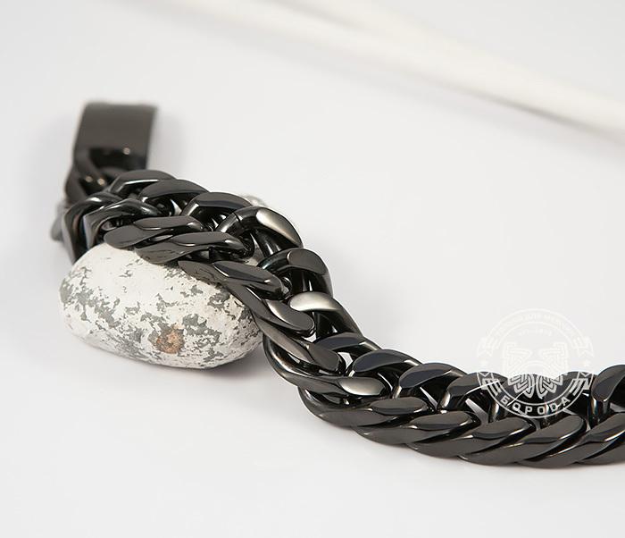 BM280 Лаконичный браслет черного цвета из ювелирной стали (22 см) фото 04