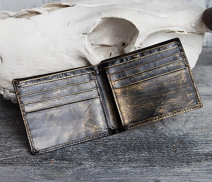 WL293-2 Крутой мужской кошелек золотистого цвета с драконом фото 05
