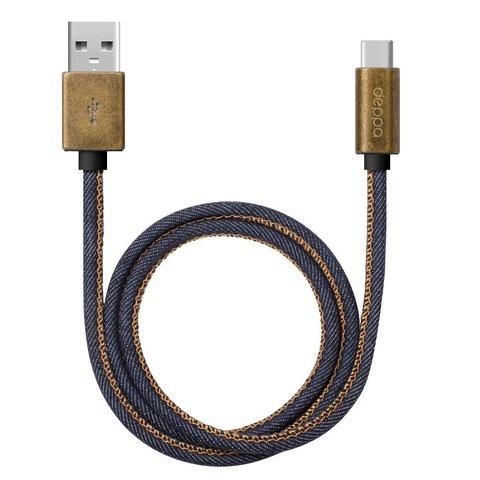 USB дата-кабель Deppa Jeans USB - USB Type-C 1.2м медь/ Джинсовая оплетка