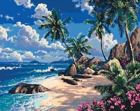 Картина раскраска по номерам 50x65 Остров с пальмами