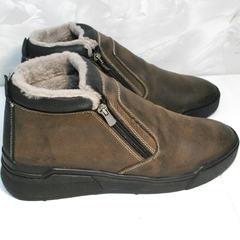 Мужские зимние ботинки на натуральном меху купить Rifellini Rovigo 046 Brown Black