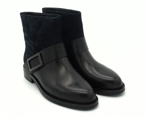Ботинки зима черного цвета из комбин.кожи