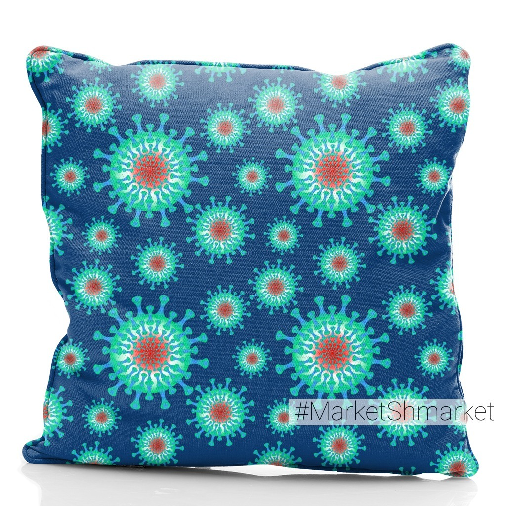 Паттерн - Цветной коронавирус на синем фоне