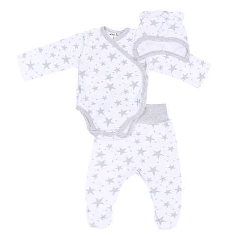 Mini Fox. Комплект для новорожденных швами наружу 3 предмета, серые звезды