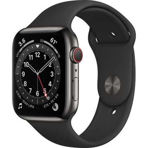 Часы Apple Watch Series 6 GPS + Cellular 44mm Stainless Steel Case with Sport Band (Graphite, Black) (M07Q3, M09H3)