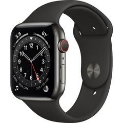 Часы Apple Watch Series 6 GPS + Cellular 44mm Stainless Steel Case with Sport Band (Graphite, Black) (M07Q3, M09H3)