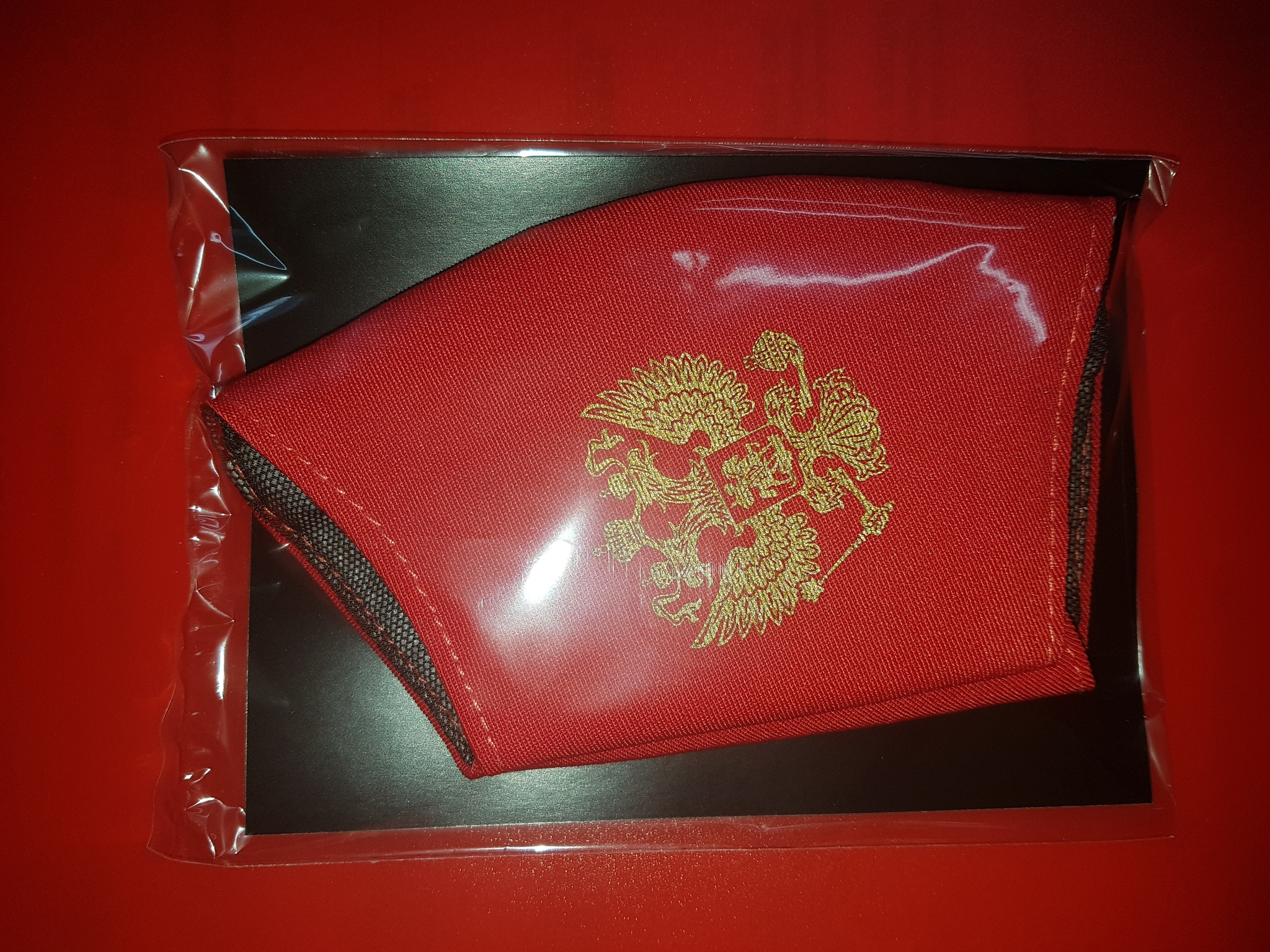 Маска хлопковая красная с принтом Герб России золото многоразовая