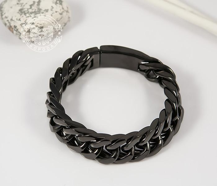 BM280 Лаконичный браслет черного цвета из ювелирной стали (22 см) фото 05