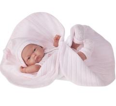 Munecas Antonio Juan Кукла Кукла-младенец Карла в розовом одеяле, 26 см (4067P)