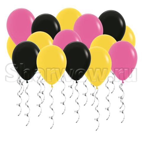 Воздушные шары под потолок Желтый, черный и фуксия