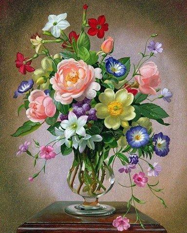 Алмазная Мозаика 30x40 Цветы в прозрачной вазе (арт. X024 )