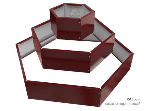 Клумба многоугольная оцинкованная Альпийская горка 3 яруса RAL 3011 Красно-коричневый
