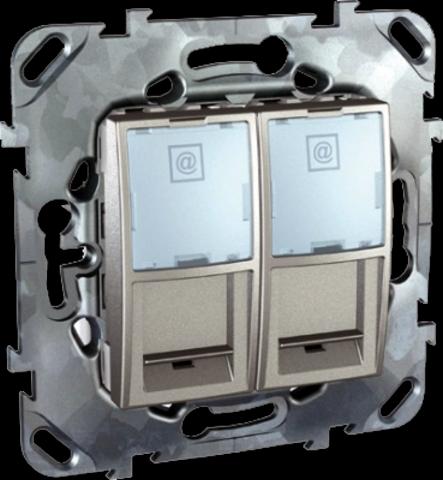 Розетка компьютерная двойная розетка 2хRJ45 кат. 6. Цвет Алюминий. Schneider electric Unica Top. MGU5.2424.30ZD