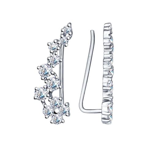 94022203 - Серьги-зажимы из серебра с фианитами