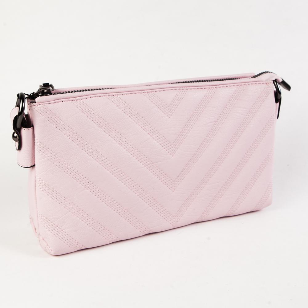 Маленький стильный женский повседневный клатч сумочка розового цвета из экокожи Dublecity DC807-6 Rose