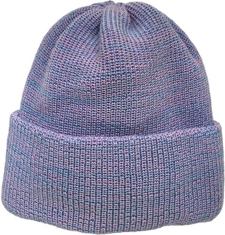 Зимняя однотонная объемная двухслойная шапочка бини