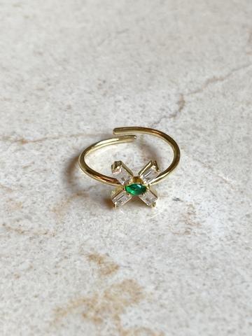 Кольцо из позолоченного серебра с зеленым цирконом