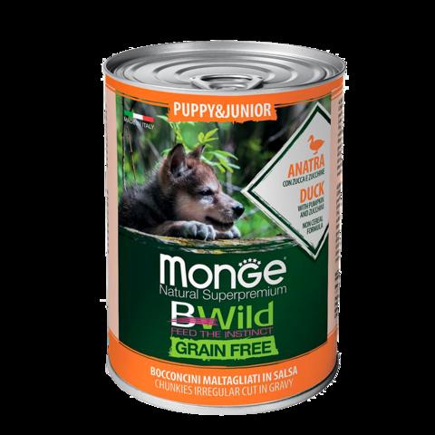 Monge Dog BWild Grain Free Puppy & Junior Консервы для щенков всех пород из утки с тыквой и кабачками, беззерновые (банка)