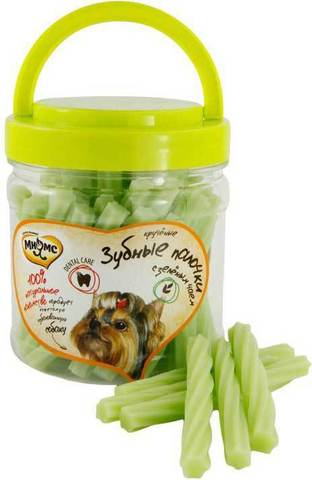 МНЯМС Лакомство для собак крученые зубные палочки с зелёным чаем