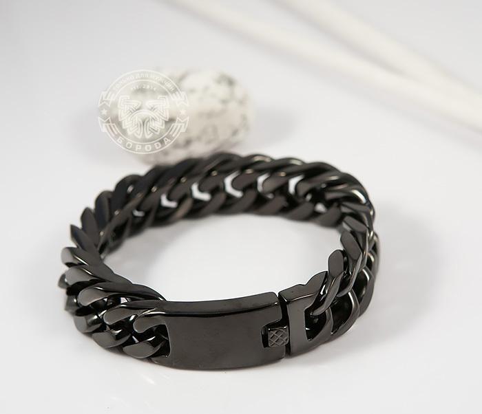 BM280 Лаконичный браслет черного цвета из ювелирной стали (22 см) фото 07