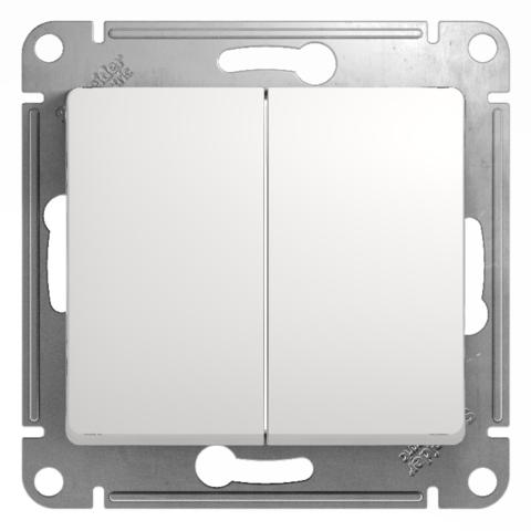 Переключатель двухклавишный, 10АХ. Цвет Белый. Schneider Electric Glossa. GSL000165