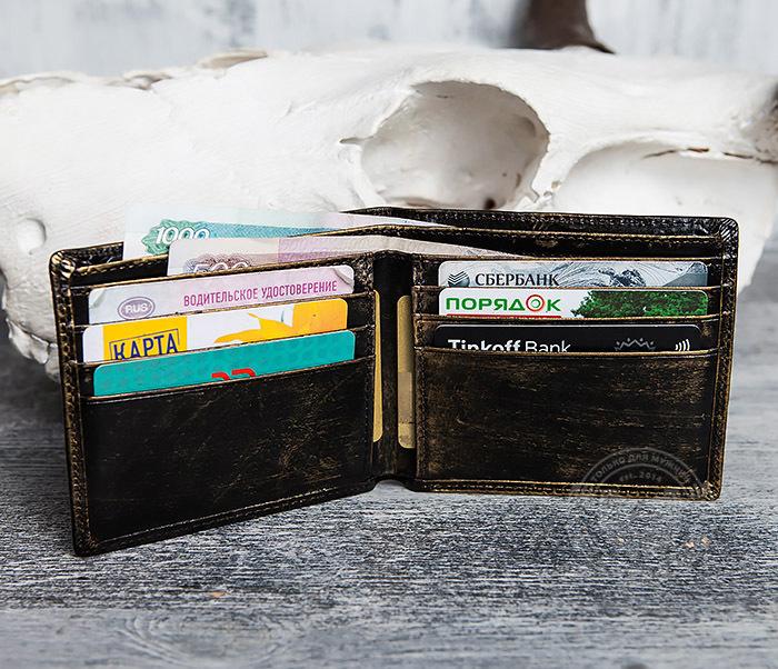 WL293-2 Крутой мужской кошелек золотистого цвета с драконом фото 08