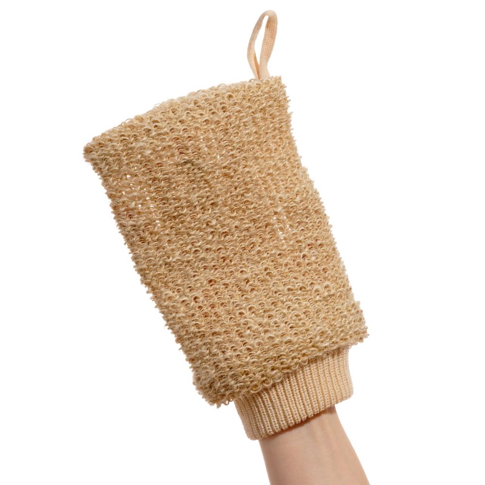 Мочалка-рукавица  массажная из натурального волокна (гибискуса коноплевого)