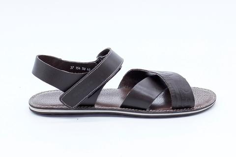 Кожаные коричневые сандалии на застежке-липучке